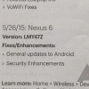 Sprint Doc Interna Says Android 5.1.1 (Build LMY47Z) está viniendo a El Nexus 6 El 26 de mayo